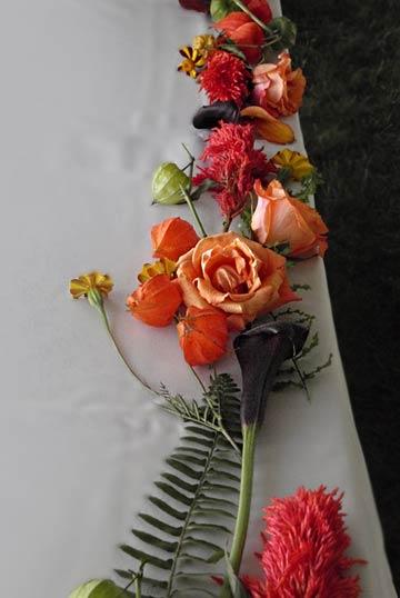 Chinese Lanterns Flower Wedding Strewn Flowers And Ferns